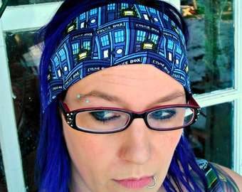 Doctor Who headband Space hair bow geek TARDIS