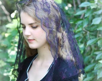 Evintage Veils~ Black & Lavender Chantilly Lace Chapel Veil Mantilla D Shape Veil