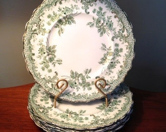 "Rare set of six J&G Meakin ""Delaware"" transferware dinner plates from late 1800s"