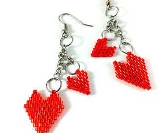 Red heart earrings Red earrings Heart charm dangle earrings Heart jewelry Dangle earring Beaded earrings Red heart jewelry Romantic earring