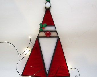 Stained Glass Santa- Christmas Ornament/Suncatcher-Winter- Holiday Gift
