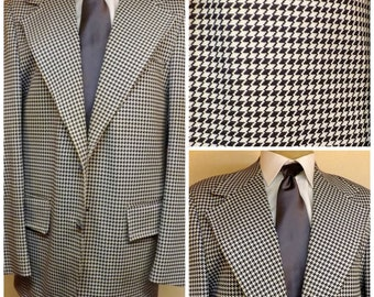 70s Blue Houndstooth Mens Sport Coat Blazer by Towncraft Size 40R