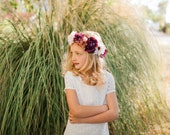 Purple and Cream Child Size Floral Crown with Peonies and Daisies, Fall Floral Crown for Little Girl Dress Up