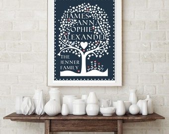 Personalised Family Tree.  Personalised Family Tree Wall Art. Anniversary Gift. Made To Order Family Tree. Giclee Print
