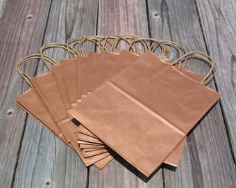 "50 Pack - Rose Gold Gift Bags with Handles- Wedding Welcome Bags - 8""x4""x10"" Metallic Copper Rose Gold"