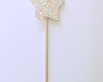 Snowflake Star Fairy Wand-Wooden Fairy Wand-Party Favor wands-Princess Party Favors-Frozen Party Wand-White Snowflake Wand
