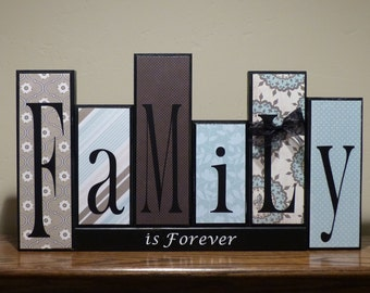 family block letters home decor unique custom gift family is forever wood block letters living room decor family blocks