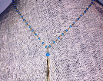 Turquoise Chain Spike Necklace