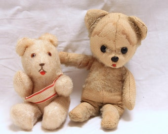 Two vintage small stuffed bears, Berlin bear, stuffed animals, collectible bears/plush animals, made in Germany, set of two bears