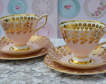 Clare Tea for Two-Pair of Tea trios: Tea Cups, Saucers, Plates, Vintage Pink and Gilt Bone China, Excellent Condition