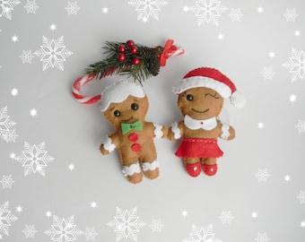 Felt Christmas Ornament Gingerbread Man ornament Gingerbread Girl Felt Gingerbread man ornament Christmas gifts  Christmas tree ornaments