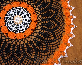 Hand Crocheted Halloween Pumpkin Patch Doily for Home Decor | Halloween Centerpiece | Black, Orange and White Doily | Halloween Decoration