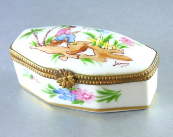 Vintage Limoges Trinket Box Hand Painted and Artist Signed Vintage Collectible Limoges