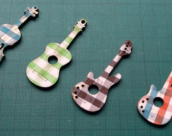 Large Guitar & Violin or Cello Wooden  Checkered Embellishments  (62x23mm) - Music - Instruments - Cardmaking - Crafting Projects