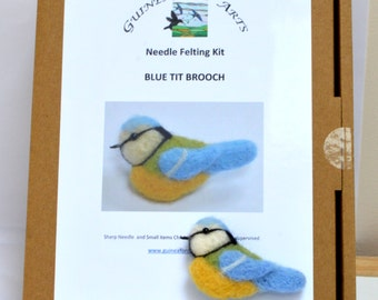 Needle Felting Kit Blue Tit Brooch, Bird