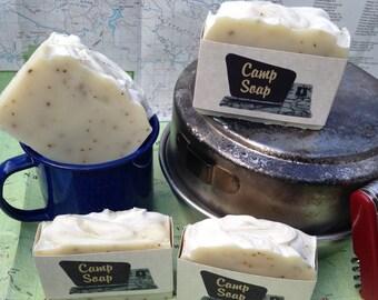 Camp Soap Handmade Bar with Aloe Vera, Shea Butter, and Rice Bran Oil