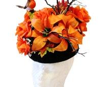 Orange Black Hat Ascot Hat Floral Branches Birds Hat Birds Fascinator Couture Headpiece Artistic Millinery