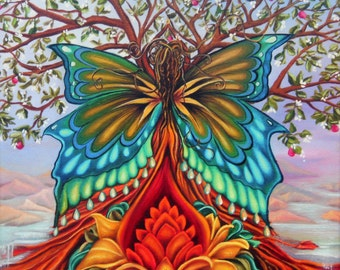 Tree of Life, Butterfly Goddess, Lotus flower, majestic landscape, canvas print, Rainbow Butterfly