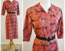 Vintage 40's WWII Coral Red Mid Century ATOMIC Space Age Print Cotton Day Dress Fabulous!! pin up
