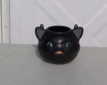Vintage retro Halloween Hallmark black cat plastic bucket pail