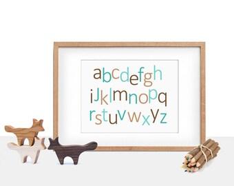 Alphabet printable nursery art, Instant Download