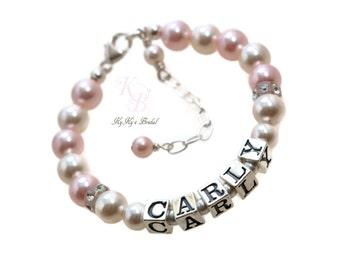 Baby Name Bracelet Little Girl Bracelet Personalized Bracelet Little Girl Gifts Personalized Baby Gifts Custom Bracelet Kids Jewelry