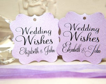 Custom Wishing Tree Tags. Wedding Wishes with Names. Lilac purple Wedding cards. Square printed favour tags. Pink pearlised card / gift tags