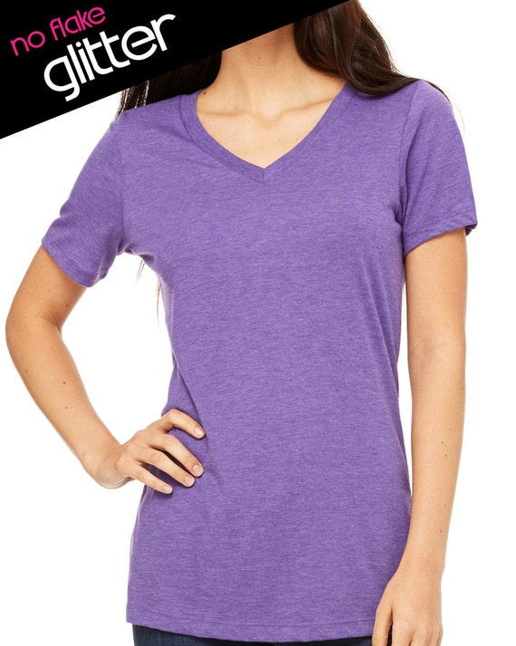 Custom V Neck Tee Shirt Glitter Sparkle Rhinestone Create A