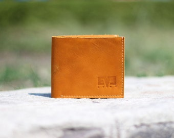 Small wallet from genuine leather, handmade wallet for men, LB1010 Yellow