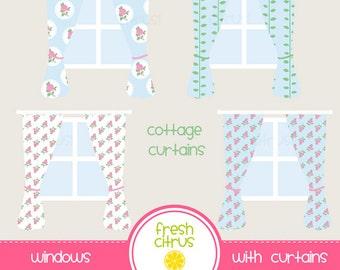 Window Clip Art Cottage Curtains