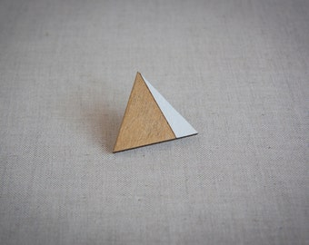 Triangle wooden brooch pin brooch, gold & white, laser cut, handmade, modern geometric jewelry, eco friendly