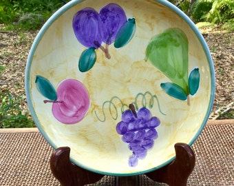 "Caleca ""Frutta"" hand painted 8"" Salad Plate from Italy.  Exquisite quality of workmanship"