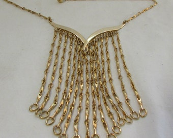 Necklace, Choker, Bib Length, Brass, Brass Fringe