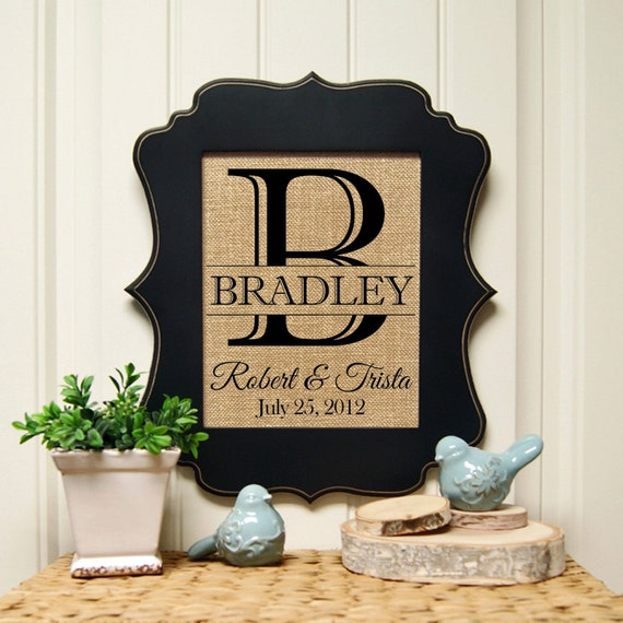 personalized burlap print burlap wall art by. Black Bedroom Furniture Sets. Home Design Ideas