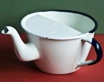 Vintage enamel teapot - Retro Kettle, Vintage Kitchen, White enamel Teapot
