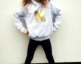 Personalised Initial College Print Baby and Kids Hoodie Jumper Ages 6mths - 12yrs