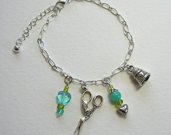 Sewing Quilting Charm Bracelet #2 ~ Stork Scissors, Thimble, Heart, Charms