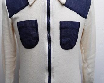 vtg 70s cotton denim vest cardigan  sz 48 S