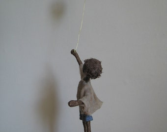 Boy with Blue balloon. Mixed media sculpture. Made to order