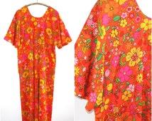 70's Orange Psychedelic Flower Print Kaftan or Mumu
