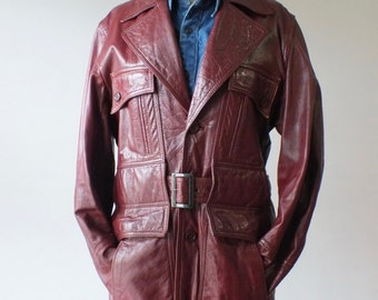 70s Men's leather trench coat + Vintage leather jacket