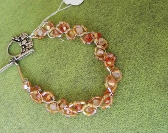 Hand made tennis bracelet orange crystal beads