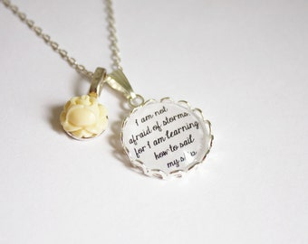 Little Women quote necklace. Louisa May Alcott. Fond of books. Not afraid of storms. Personalized