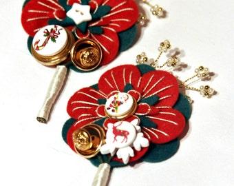 Christmas Brooch / Christmas buttonhole / Christmas corsage / novelty buttonhole or corsage /  red and green and gold