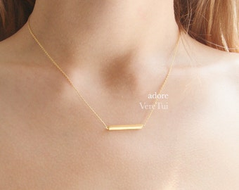 Dainty Simple Brushed Gold Sim Bar Barred Rectangular Necklace