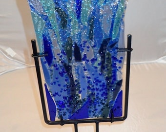 Fused Glass Wall or Table Art -Ocean Wave