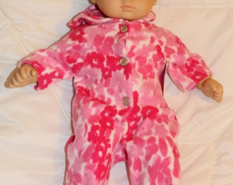 "Bitty Baby size handcrafted pink flowers fleece bunting.  Fits Bitty Baby and other 15-16""dolls"