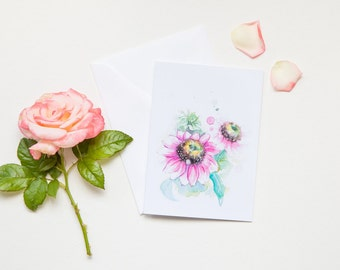 Pink Daisy Spring Flower Greeting Card