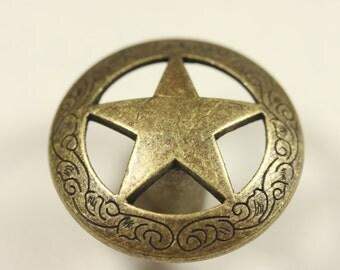 Engraved Star Knob - Antique Brass