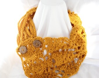 Crochet Lacey Scarf with Rope Embellishment and two wooden buttons - Adult Size